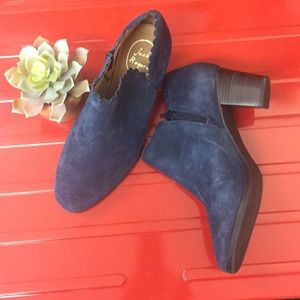 Jack Rogers Blue Suede Booties Size 8.5